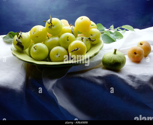 plumbs in bowl - Stock Image