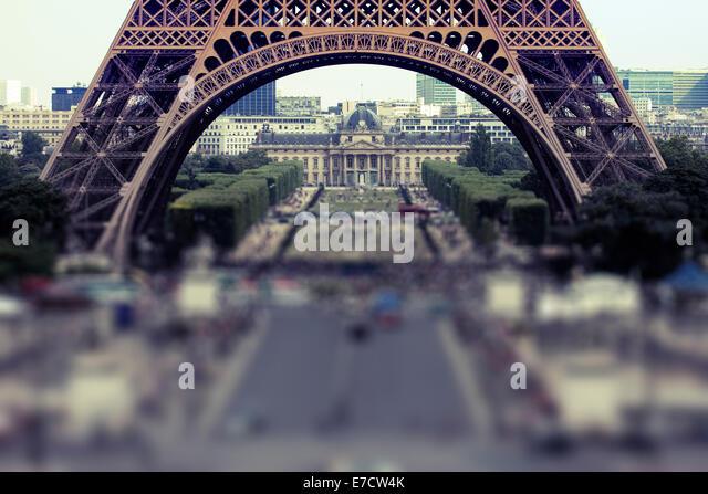 Eiffel Tower, Champ de Mars, Paris, France - Stock Image