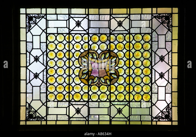 An original louis comfort tiffany stained glass window - Flagler college in St Augustine florida USA The old Ponce - Stock Image