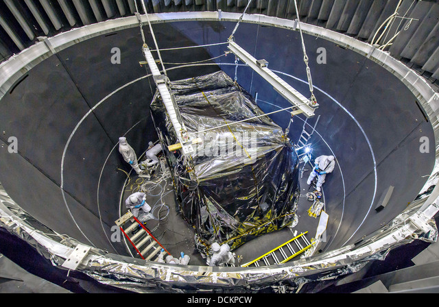 An overhead glimpse inside the thermal vacuum chamber as engineers ready the James Webb Space Telescope Integrated - Stock Image
