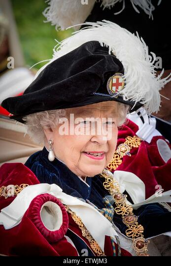 Windsor, UK. 15th June, 2015. Queen Elizabeth II attends the The Order of the Garter Service at St George's - Stock Image