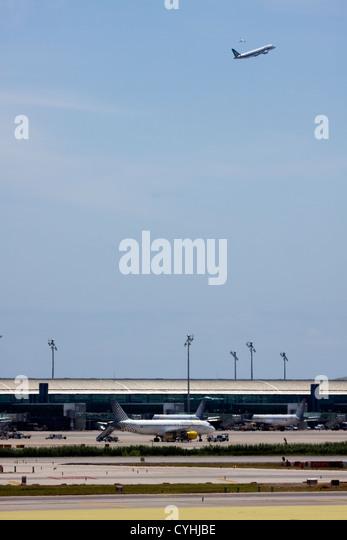 Passenger Airplanes at Barcelona El Prat Airport, Spain - Stock Image
