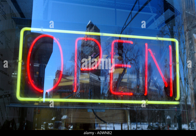 Open Sign New Haven Connecticut City Scenics Business Center Open for business business sign in window - Stock Image