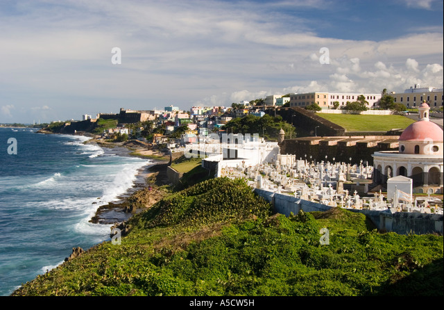 Coastal view of San Juan Peurto Rico with waves and beach in foreground - Stock Image