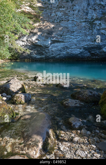 Blue Lake located in the mountains of Abkhazia - Stock Image