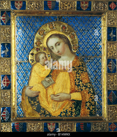 fine arts, religious art, Virgin Mary with child, painting, tempera on wood, gilted silver sheet with enamel and - Stock Image