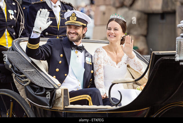 The wedding of HRH Prince Carl Philip and Miss Sofia Hellqvist, Stockholm, Sweden - Stock Image