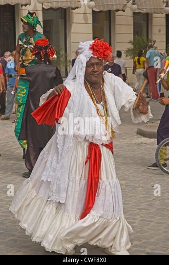 CUBA, Havana, dancing lady with cigar - Stock Image