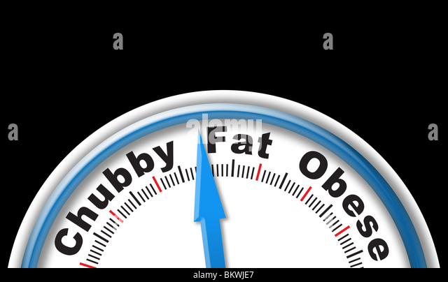 Scales with 'Chubby' 'Fat' and 'Obese' measurements - Stock Image