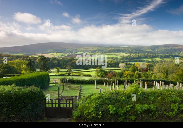 Selworthy Church graveyard, overlooking beautiful countryside, Exmoor National Park, Somerset, England - Stock Image
