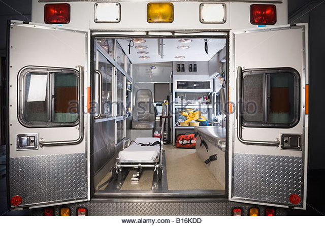 Ambulance with rear doors open - Stock Image