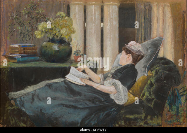 Louise Tiffany, Reading, Louis Comfort Tiffany, 1888 - Stock Image