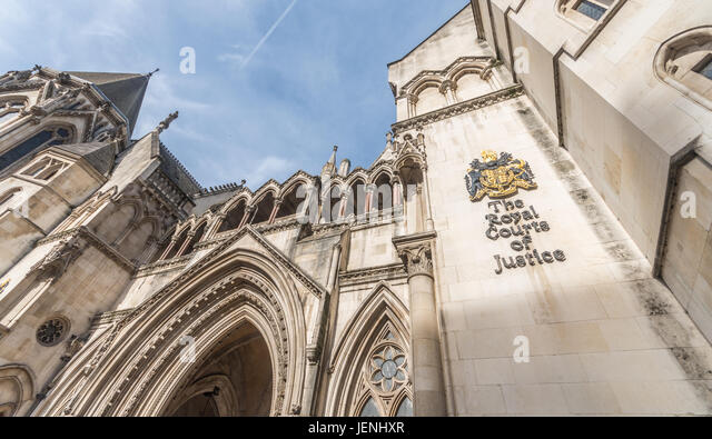 Known as The Law Courts, The Royal Courts of Justice houses the High Court and Court of Appeal of England and Wales - Stock Image