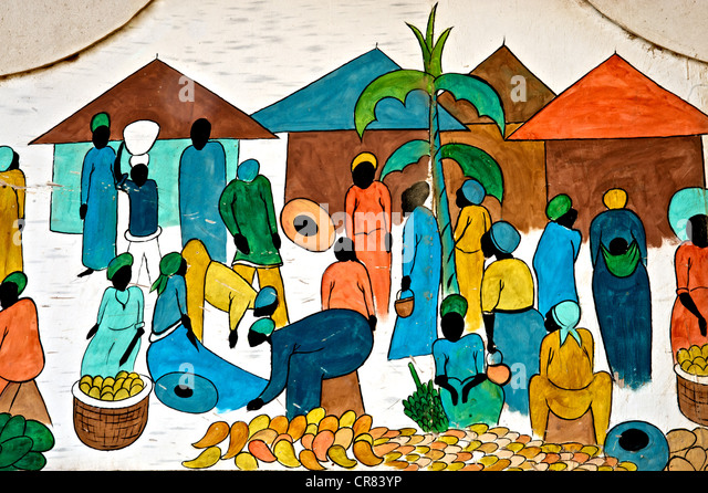 Artistic detail of colorful drawing depicting African life - Stock Image