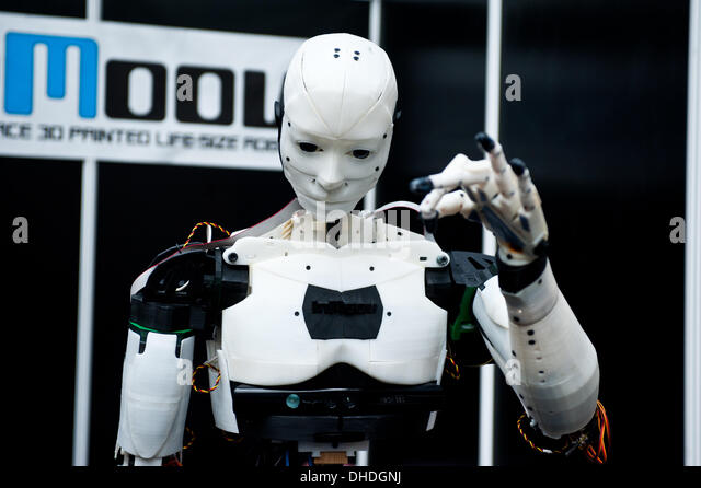 London, UK. 7th November 2013.  The InMoov Robot, an open-source humanoid robot comprised almost entirely of 3D - Stock Image
