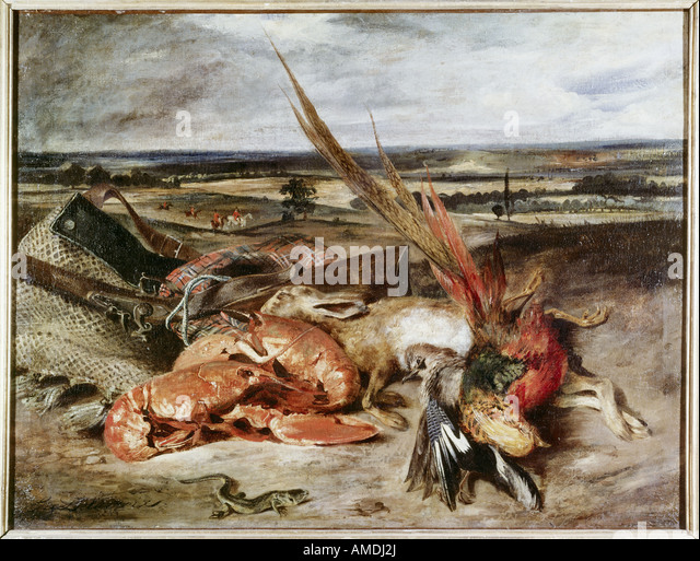 """fine arts, Delacroix, Eugene (1798 - 1863), painting, ""Still Life with Lobsters"", 1826/1827, oil - Stock Image"
