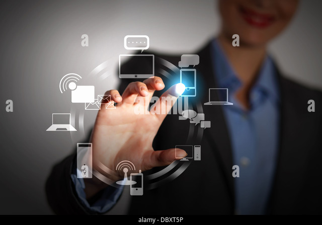 hand pushing on a touch screen - Stock Image