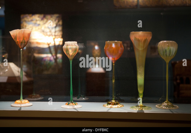 Tiffany glass vases in The Metropolitan Museum of Art, New York - Stock Image