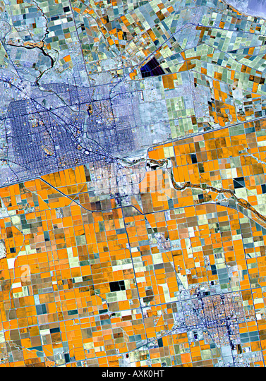 Satellite image of farmland Germany - Stock Image