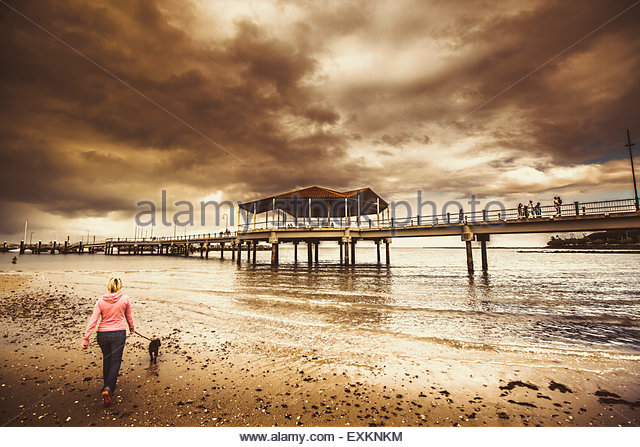 Contrasted lifestyle imagery of a woman walking dog on stormy beach by large jetty. Taken Redcliffe, Queensland - Stock Image