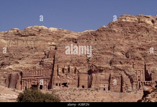 PALACE, CORINTHIAN, SILK AND URN TOMBS. PETRA. JORDAN. MIDDLE EAST - Stock Image