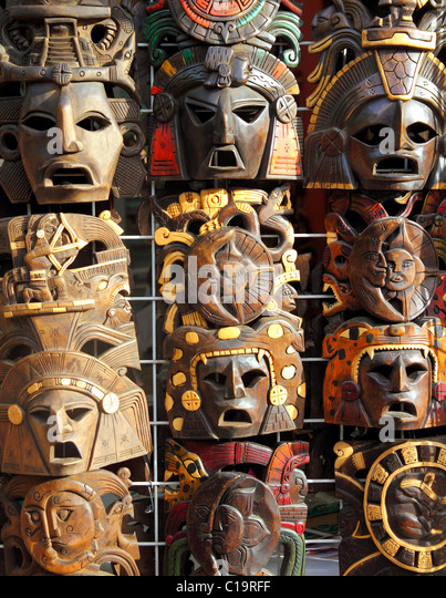 art Mexican wooden mask handcrafted wood faces - Stock Image
