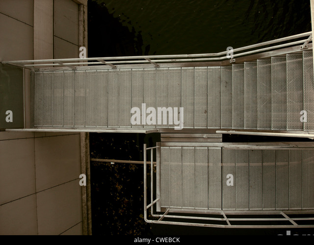 staircase,steps,stainless steel - Stock Image