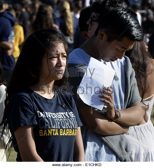 epa04228914 UCSB students attend a memorial event for the six UCSB students killed and 13 wounded in a shooting - Stock Image