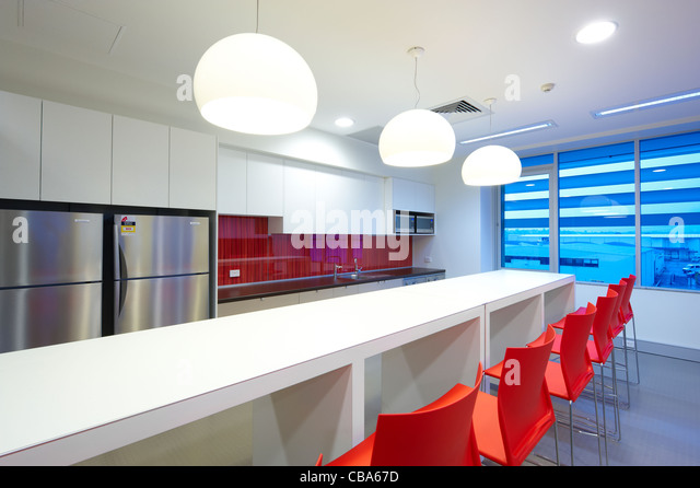 Modern commercial kitchen & lunch room - Stock Image