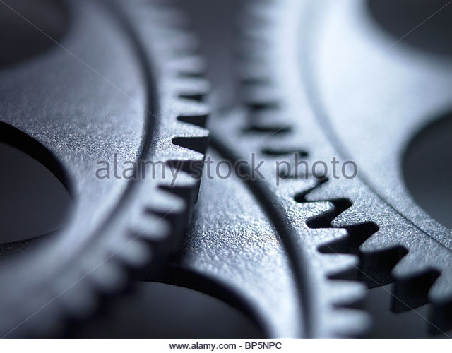 Close up of metal cogs - Stock Image