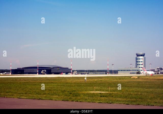 Terminal and control tower at Rzeszow Jasionka Airport, Rzeszow, Poland - Stock Image