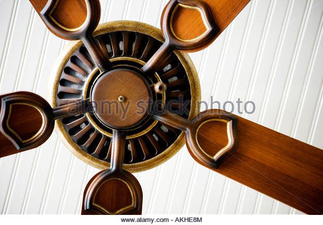 Detail of ceiling fan. - Stock Image