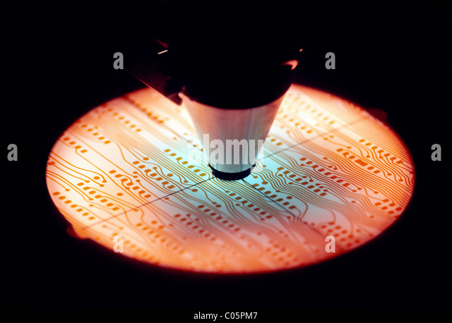 Microscope used to inspect circuit boards for use on computer micro chips - Stock Image