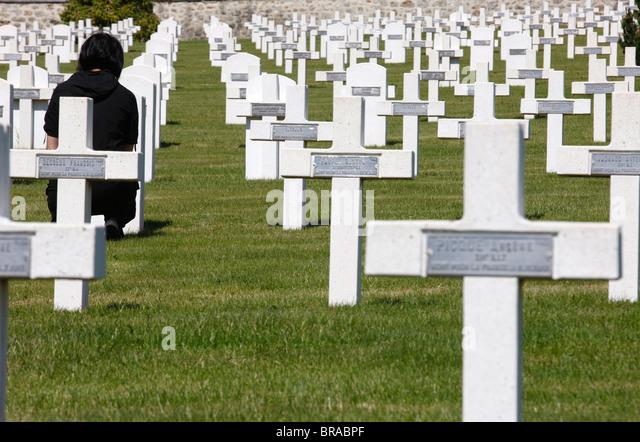 Prieure Binson military graveyard, Catillon-sur-Marne, Marne, France, Europe - Stock Image