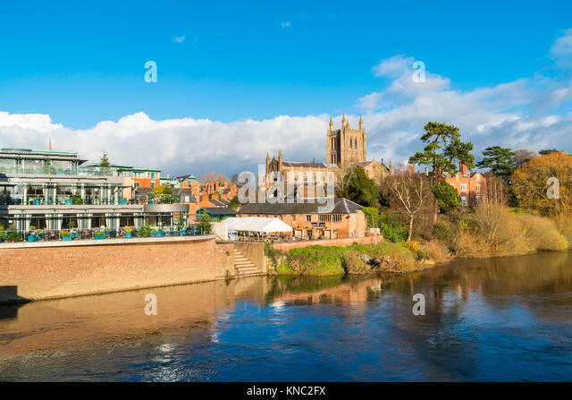The old and the new Hereford Cathedral and the Left Bank Majestically sat on the banks of the river Wye Hereford - Stock Image