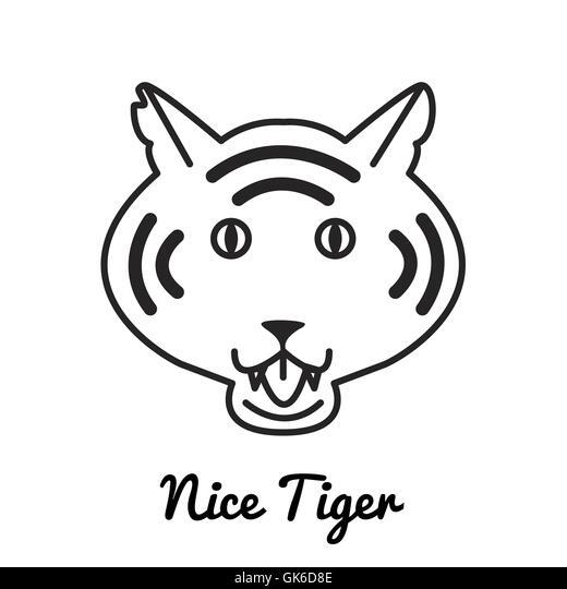 Cartoon tiger head black and white
