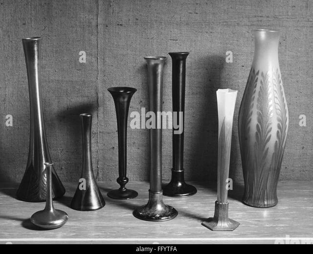 TIFFANY VASES. /nGlass vases by Louis Comfort Tiffany. Photograph, c1955. - Stock Image
