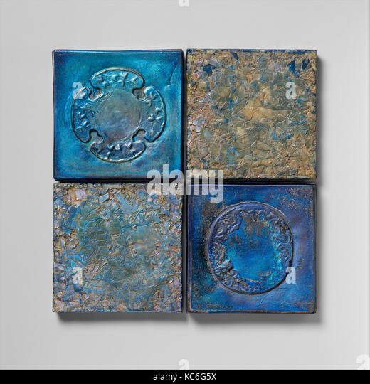 Tiles, ca. 1905, American, Favrile glass, 4 x 4 in. (10.2 x 10.2 cm), Glass, Louis Comfort Tiffany (American, New - Stock Image