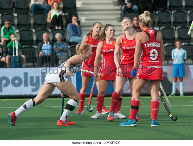 Amsterdam, The Netherlands. 20th Aug, 2017. Eurohockey Championships 2017 Germany vs England Women Camille Nobis (GER) celebrates their goal whilst the English are disappointed. Credit: Richard Wareham Fotografie/Alamy Live News - Stock Image