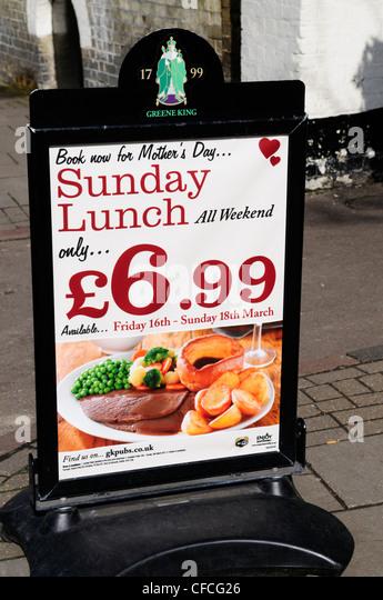 Greene King Mother's day Sunday Lunch Board, Cambridge, England, UK - Stock Image