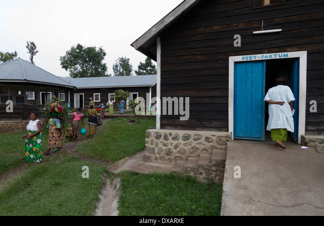 A verdant and unworried space:Le Village des Mamans :MSF hospital ,Rutshuru,North Kiwu ,DRC,Democratic Republic - Stock Image