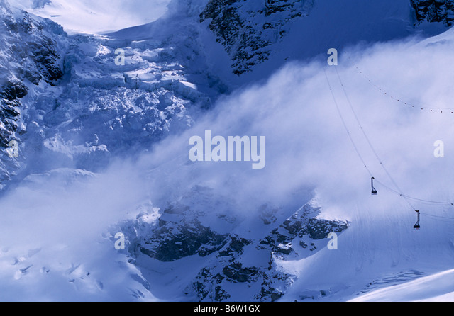 View of the Trockner Steg cable car and glaciers Zermatt Switzerland - Stock Image