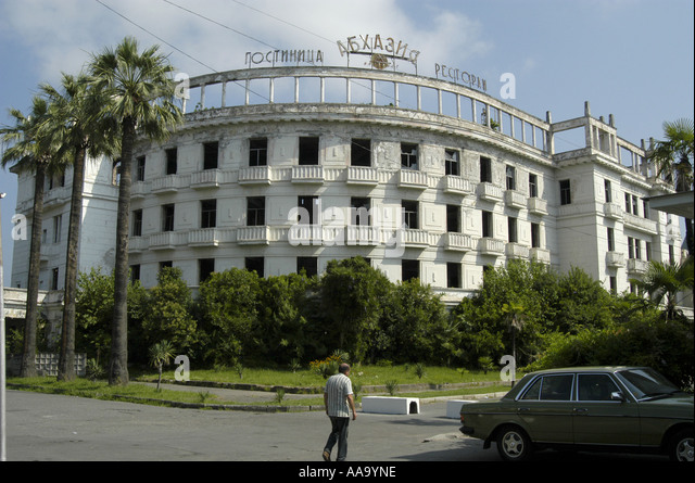 Gutted hotel in Sukhumi destroyed during the conflict of 1992 (Abkhazia) - Stock Image