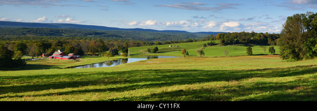 Panoramic photograph of farm land at Fairview Hill Road, Fredon Township, Sussex County New Jersey USA - Stock Image