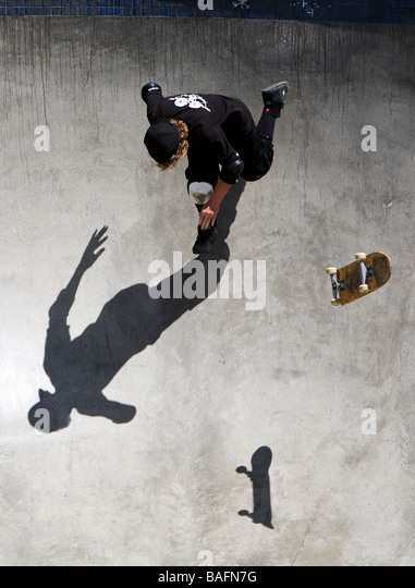 Skateboarder doing tricks Culver City Skateboard Park Culver City Los Angeles County California United States of - Stock Image