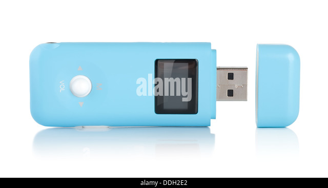 Blue MP3 player isolated - Stock Image