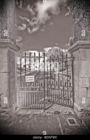 A graveyard entrance - Stock Image