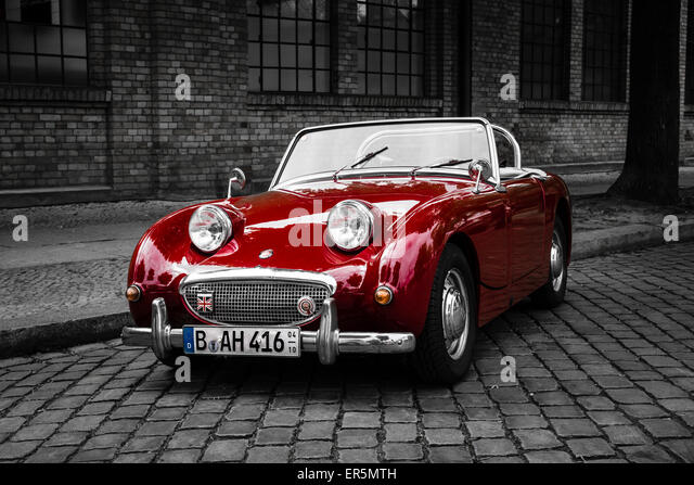 BERLIN - MAY 10, 2015: Sports car Austin-Healey Sprite Mk I. Stylization. Combined toning. 28th Berlin-Brandenburg Oldtimer Day - Stock Image
