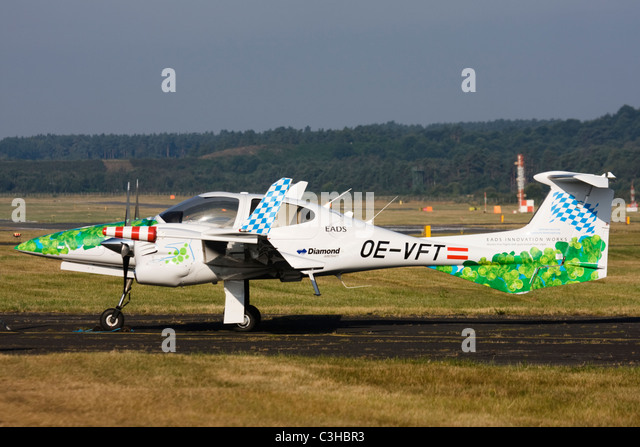 Diamond Aircraft Industries bio-fuel powered Diamond DA-42 Twin Star aircraft at Farnborough International Airshow. - Stock Image