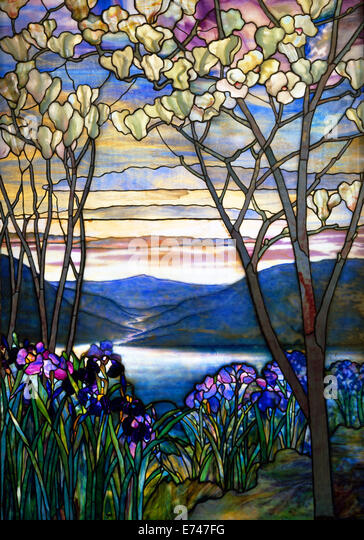 Stained glass: Magnolias and Irises - by Louis Comfort Tiffany, 1908 - Stock Image